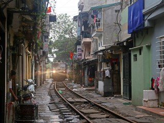 Walking along Hanoi Train Street